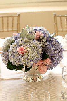 blue hydrangea AND pink roses