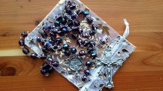 Amethyst Lilac and Blue Scapular Rosary by MimisRosaries on Etsy