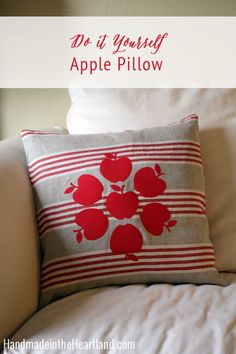 How to make an Apple Envelope Throw Pillow, Easy fall craft to add some fun festive fall decor to your home. HandmadeintheHeartland.com