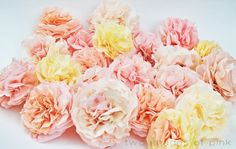Coffee filter flowers from  Two Shades of Pink: paper