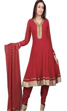 #Maroon Faux #Georgette #Churidar #Kameez with #Dupatta @ $61.54 | Shop @ http://www.utsavfashion.com/store/sarees-large.aspx?icode=slkyc122