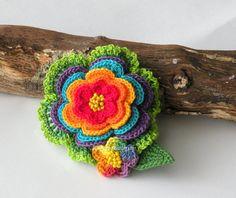 Crocheted colorful flower hair clip or by DAINTYCROCHETBYALY