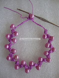 Crocheted Necklace w/ Turkish Crochet.  Nice way to add fiber color.  #Seed #Bead #Tutorials