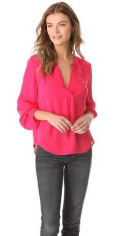Joie Ameline silk top in bright rose