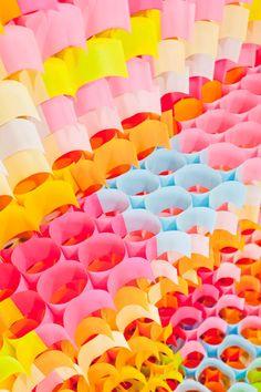 paper garlands, lung, architects, yo shimada, color schemes, postit, art, magazin, sculptur