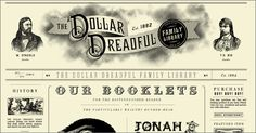 Vintage newspaper web site design: dollardreadful.com
