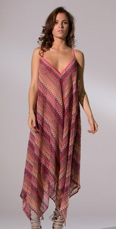 Inca 2014 Sienna New Pink Knit Wave Handkerchief Dress #Inca #2014 #Sienna #Dress #Pink #Handkerchief #CoverUp #Stylish #Beachwear #Beachseason #Southbeachswimsuits