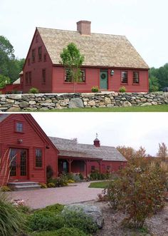 Cape Cod Exterior: Red, old stone wall