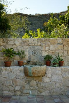 tiered stone wall & fountain
