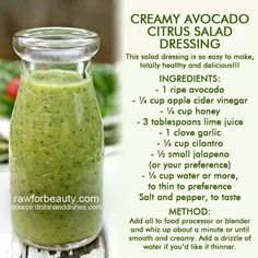 Creamy Avocado Citrus Salad Dressing // Via @Barbara Acosta Roletter // #avocado #citrus #jalapeno #honey
