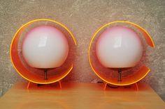Vintage Orange Dayglo Lucite Circle Lamps