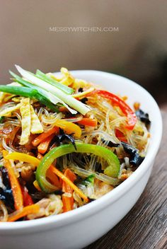 Japchae – Korean Glass Noodles With Stir-Fry Vegetables Meat