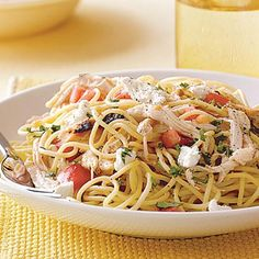 Speedy Spaghetti with Chicken and Fresh Tomato recipe. This dinner can be made in just 15 minutes!
