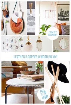 Leather & Copper & Wood - Oh My! A roundup of some of my favorite DIY projects from around the web! #leatherDIY #copperDIY #woodDIY #DIYphotodisplay #DIYmirror #DIYhatstand #DIYlampshade #easyDIYprojects #DIYwallart #DIYjewelry #DIYclock #DIYideas #easyDIY