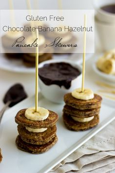 Banana Hazelnut Pancake Skewers with the BEST Chocolate Dipping sauce - Great for kids or Mothers Day! #easy #pancakes #breakfast #glutenfree  - Food Faith Fitness