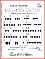 Addition to 10 Sheet, kindergarten adding worksheet
