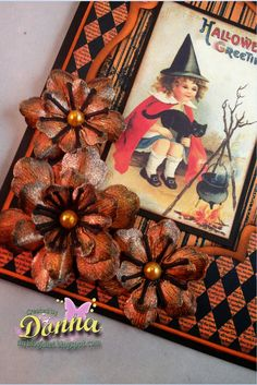 Great Halloween card using Crafty Secrets Creating With Vintage Halloween CD made by Donna Idlet for Craft Hoarders Anonymous - Challenge #15 - All the Pretty Flowers