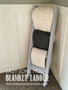 DIY:: Rustic Farmhouse Styled One-Hour Blanket Ladder !