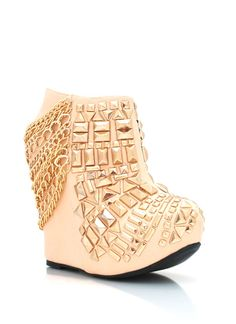 Studded Chainlink Wedge Booties $58.95...OMG