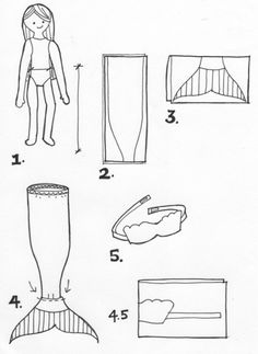 pattern for making easy mermaid outfit for American girl ( or any) doll.