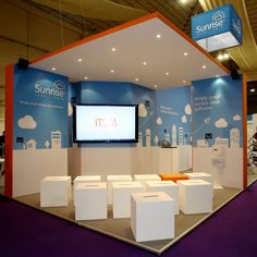 A theatre area created for live presentations at SITS 2014. The ceiling unit created an effective theatre feel and also kept the noise in so the impact of the presentation was maximised in a large hall.