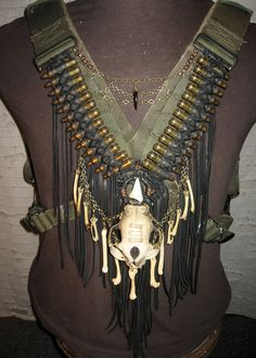Feral Cat Skull Bullet Body Harness with Coyote,Pigeon,Deer and Mink Bone via Etsy.