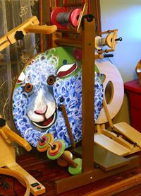 Hand-Painted Louet S17 spinning wheel from LunabudKnits