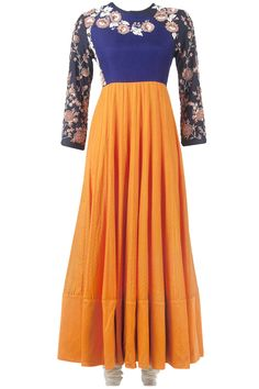 Golden yellow floor length kalidar set available only at Pernia's Pop-Up Shop.