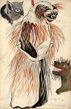 Natalia Goncharova (1881-1962). Le Coq d'Or, Costume design for animal characters with their masks, 1937. Watercolor with pencil traces. Natalia Goncharova Collection of Designs for Le Coq d'Or. pf MS Thr 422 (21). Purchased with the Frank E. Chase Fund, 1954.