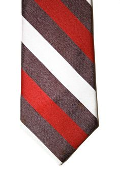 Vintage Mens Red/White/Grey Striped Preppy Tie by VintageMensGoods, $18.00