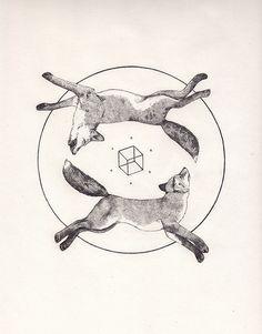 Tattoo Inspiration - (Geometric) Foxes. A Peter Carrington illustration. #Art