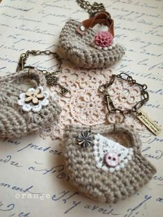 Awesome Ideas... Mini marchbag and mini booties charms/ornaments..Site is originally in Japanese but translated to english...