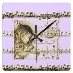 Carousel Dreams Purple Vintage Music Wall Clock by MoonDreams Music #wallclock #purple #music #moondreamsmusic #carouseldreams #baby #mom