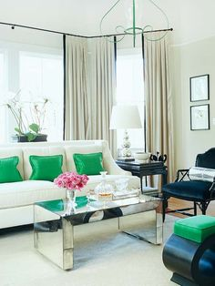 Emerald green adds excitement to this space! More ways to decorate with green: http://www.bhg.com/decorating/color/paint/green-home-decorating-ideas/?socsrc=bhgpin042012decoratingwithgreen