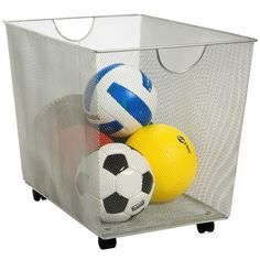Silver Mesh Rolling Bin-I use this to store my activity take home bags.  I can roll it out of my office for students to look through and roll it back in for secure storage.