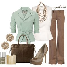 Mint, taupe & white