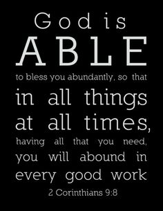 In all things, at all times...God is able!