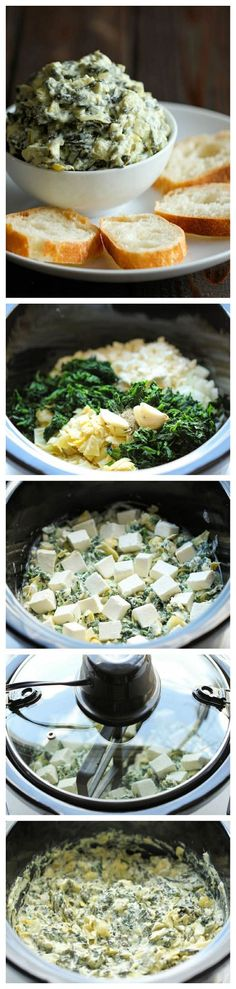 Slow Cooker Spinach and Artichoke Dip - Simply throw everything in thecrockpot for the easiest most effortless spinach and artichoke dip!