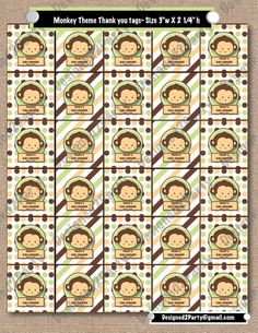 DIY Printable to match the Monkey Theme baby by designed2party, $10.00 -- Perfect for party favors
