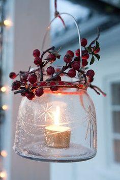 berri, winter, christmas lanterns, christmas decorations, candle holders, holidays, christmas candles, mason jars, tea lights