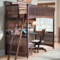 Loft bed with desk.