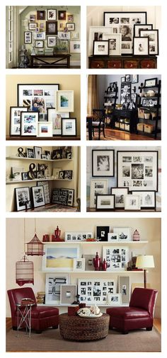 decor, photo display, wall displays, frame, galleri, photo wall, gallery walls, shelv, pottery barn