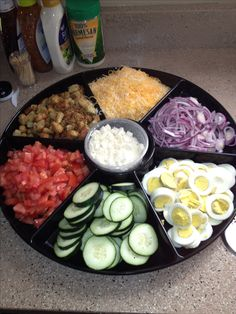 Perfect way to create a salad bar at a party!! This can be used over and over again. :)