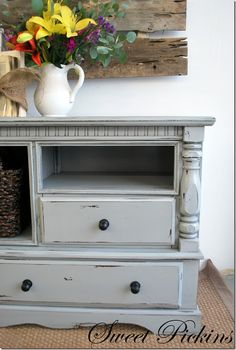 Dresser turned into TV stand. I like the color and the distressing