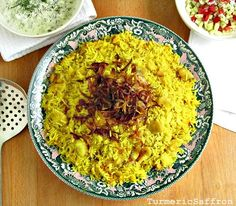 Turmeric and Saffron: Dami Baghali -Turmeric Rice With Yellow Fava Beans and Caramelized Onions