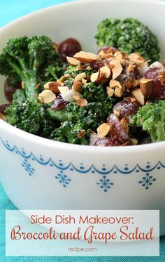 Quick and easy, this #broccoli and #grape salad is a perfect light lunch or #potluck dish.