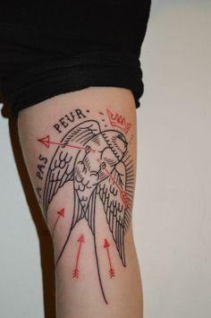 pas de peur bird and arrows #tattoos