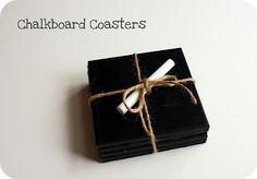 chalkboard coasters DIY