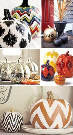 more painted pumpkins! LOVE the ikat and chevron ones.