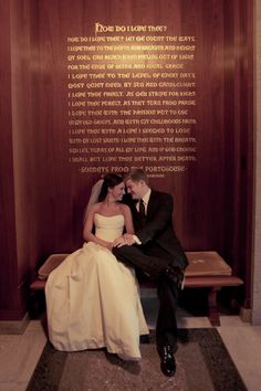 This photo was taken during their wedding at #Baylor's Armstrong Browning Library in front of an inscription of EBB's famous Sonnet 43 - the inspiration for the contest.